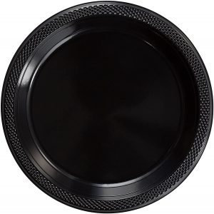 Small black plastic plates